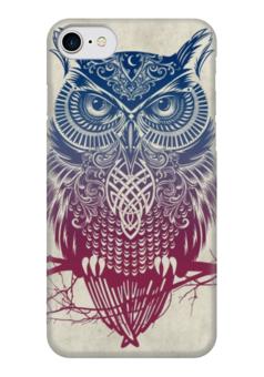 """Чехол для iPhone 7 глянцевый """"Owl ( Сова )"""" - животные, рисунок, природа, искуство, strigiformes"""