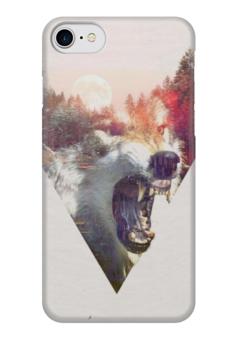 "Чехол для iPhone 7 глянцевый ""Nightwolf"" - солнце, закат, волк, волки, клыки"