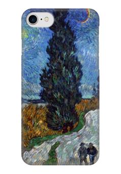 """Чехол для iPhone 7 глянцевый """"Дорога с кипарисом и звездой (Ван Гог)"""" - картина, ван гог"""