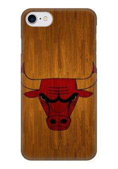 """Чехол для iPhone 7 глянцевый """"Чикаго Буллз"""" - basketball, nba, wood, chicago bulls, чикаго буллз"""