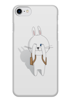 "Чехол для iPhone 7 глянцевый ""Первое сентября"" - белый, заяц, кролик, зайчик, рюкзак"