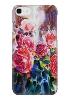 """Чехол для iPhone 7 глянцевый """"Акварель"""" - акварель, розы, roses"""