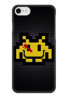 """Чехол для iPhone 7 глянцевый """"Космический Захватчик и Хранители"""" - pixel art, космический захватчик, 8-bit, space invader, watchmens"""