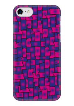 """Чехол для iPhone 7 глянцевый """"Прямоугольники"""" - черный, красный, синий, прямоугольник, обводка"""