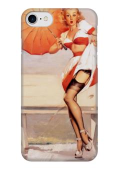 """Чехол для iPhone 7 глянцевый """"Пинап"""" - девушки, ретро, зонт, пинап, иллюстрация"""