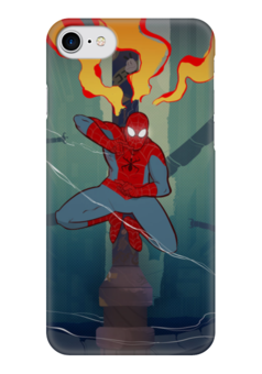 "Чехол для iPhone 7 глянцевый ""Spiderman"" - супергерои, heroes, spiderman, марвел, человек-паук"