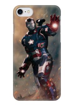 """Чехол для iPhone 7 глянцевый """"Железный человек"""" - супергерои, heroes, марвел"""