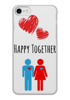 "Чехол для iPhone 7 глянцевый ""Happy Together"" - сердце, любовь, 14 февраля, 8 марта, я люблю"