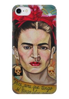 """Чехол для iPhone 7 глянцевый """"Frida Kahlo"""" - любовь, арт, красиво, цветы, черепа, стиль, ярко, портрет, художник, skulls"""