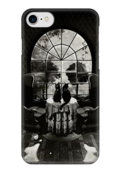 """Чехол для iPhone 7 глянцевый """"skull house"""" - череп, готика, кот, коты, котики"""