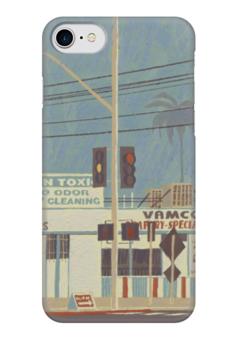 """Чехол для iPhone 7 глянцевый """"Город"""" - рисунок, город, улица, иллюстрация, улицы"""