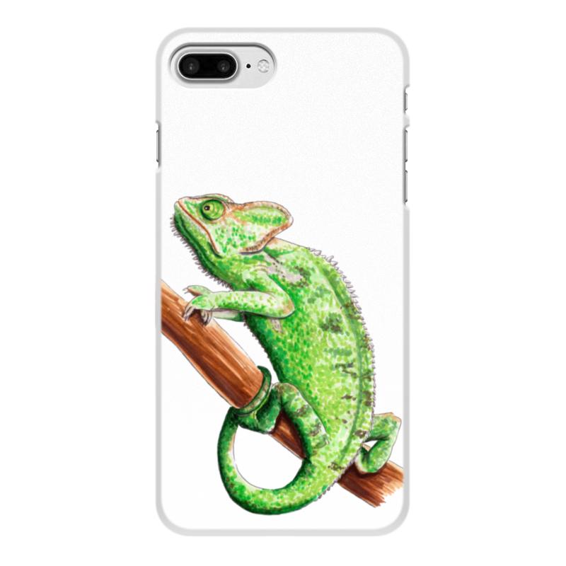 лучшая цена Чехол для iPhone 7 Plus, объёмная печать Printio Зеленый хамелеон на ветке