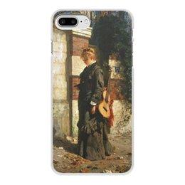 """Чехол для iPhone 7 Plus, объёмная печать """"Стрекоза («Лето красное пропела…»)"""" - девушка, гитара, картина, живопись, поленов"""