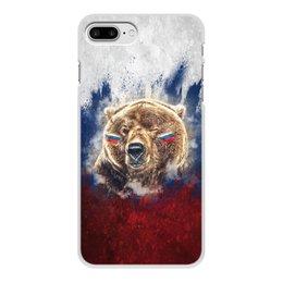 """Чехол для iPhone 7 Plus, объёмная печать """"Русский Медведь"""" - флаг, триколор, россия, футбол, медведь"""