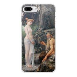 """Чехол для iPhone 7 Plus, объёмная печать """"Пан утешает Психею (Эрнст Климт)"""" - картина, мифология, эрнст климт"""