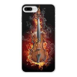 """Чехол для iPhone 7 Plus, объёмная печать """"МУЗЫКА ФЭНТЕЗИ"""" - огонь, скрипка, красота, яркость, стиль"""