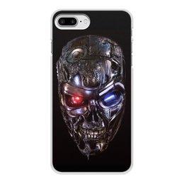 """Чехол для iPhone 7 Plus, объёмная печать """"ТЕРМИНАТОР. красивые фильмы"""" - череп, киборг, красные глаза, стиль эксклюзив креатив красота яркость, арт фэнтези"""