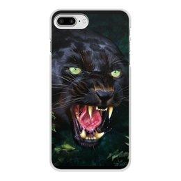 """Чехол для iPhone 7 Plus, объёмная печать """"ПАНТЕРА. ФЭНТЕЗИ"""" - стиль, глаза, красота, клыки, ярость"""