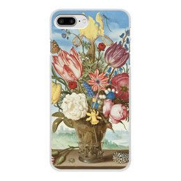 """Чехол для iPhone 7 Plus, объёмная печать """"Букет цветов на полке (Амброзиус Босхарт)"""" - цветы, картина, живопись, натюрморт, босхарт"""