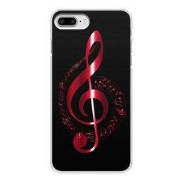 """Чехол для iPhone 7 Plus, объёмная печать """"МУЗЫКА"""" - скрипичный ключ, нотный знак, стиль эксклюзив креатив красота яркость, арт фэнтези"""