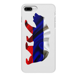 """Чехол для iPhone 7 Plus, объёмная печать """"Русский Медведь"""" - bear, медведь, русский, флаг, russian"""