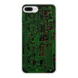 """Чехол для iPhone 7 Plus, объёмная печать """"Печатная плата"""" - электрика, электроника, печатная плата, технологии, микросхема"""