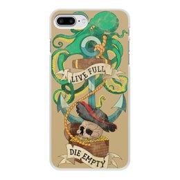 """Чехол для iPhone 7 Plus, объёмная печать """"Осьминог"""" - татуировка, якорь, пират, old school, череп"""