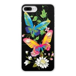 """Чехол для iPhone 7 Plus, объёмная печать """"БАБОЧКИ ФЭНТЕЗИ"""" - бабочки, цветы, стиль, красота, яркость"""