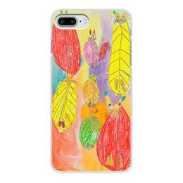 """Чехол для iPhone 7 Plus, объёмная печать """"Веселые коты"""" - абстракция, животное, детский рисунок, разноцветный рисунок, якрое"""
