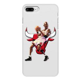 """Чехол для iPhone 7 Plus, объёмная печать """"Michael Jordan Cartooney"""" - 23, чикаго, бык, chicago bulls, джордан"""