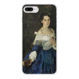 """Чехол для iPhone 7 Plus, объёмная печать """"Дама в голубом (картина Сомова)"""" - картина, портрет, живопись, модерн, сомов"""