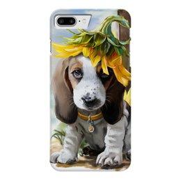 "Чехол для iPhone 7 Plus глянцевый ""Собака"" - цветок, животное, собака"