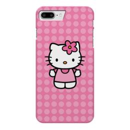 "Чехол для iPhone 7 Plus глянцевый ""Kitty в горошек"" - мультик, hello kitty, мультфильм, для детей, привет китти"