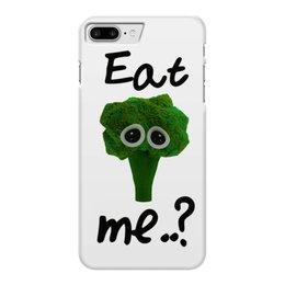 """Чехол для iPhone 7 Plus глянцевый """"Eat me..?"""" - печаль, еда, broccoli, брокколи, мимими"""