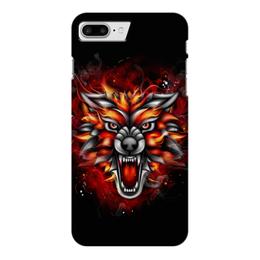 """Чехол для iPhone 7 Plus глянцевый """"Wolf & Fire"""" - огонь, волк, fire, дым, wolf"""