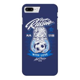 """Чехол для iPhone 7 Plus глянцевый """"Футбол"""" - футбол, матрёшка, спорт"""