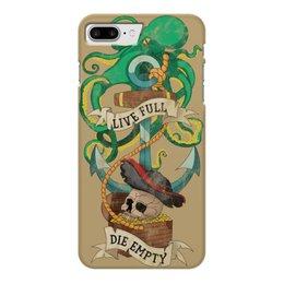 """Чехол для iPhone 7 Plus глянцевый """"Осьминог"""" - татуировка, якорь, пират, old school, череп"""