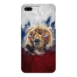 "Чехол для iPhone 7 Plus глянцевый ""Русский Медведь"" - флаг, триколор, россия, футбол, медведь"