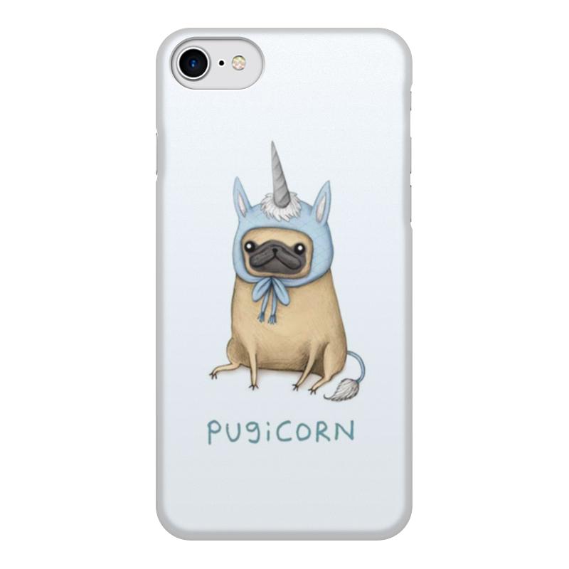 Чехол для iPhone 8, объёмная печать Printio Мопс единорог цена и фото
