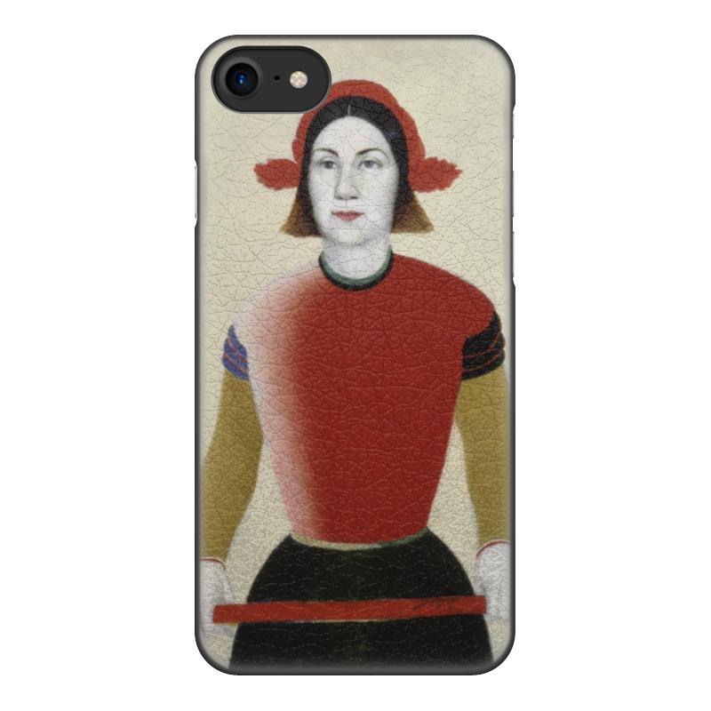 Чехол для iPhone 8, объёмная печать Printio Девушка с красным древком (малевич) чехол для iphone 8 объёмная печать printio девушка с жемчужной серёжкой ян вермеер
