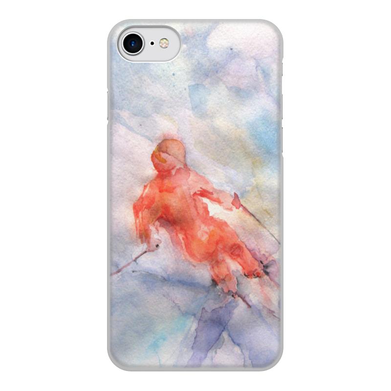 Чехол для iPhone 8, объёмная печать Printio Экстрим. горные лыжи.