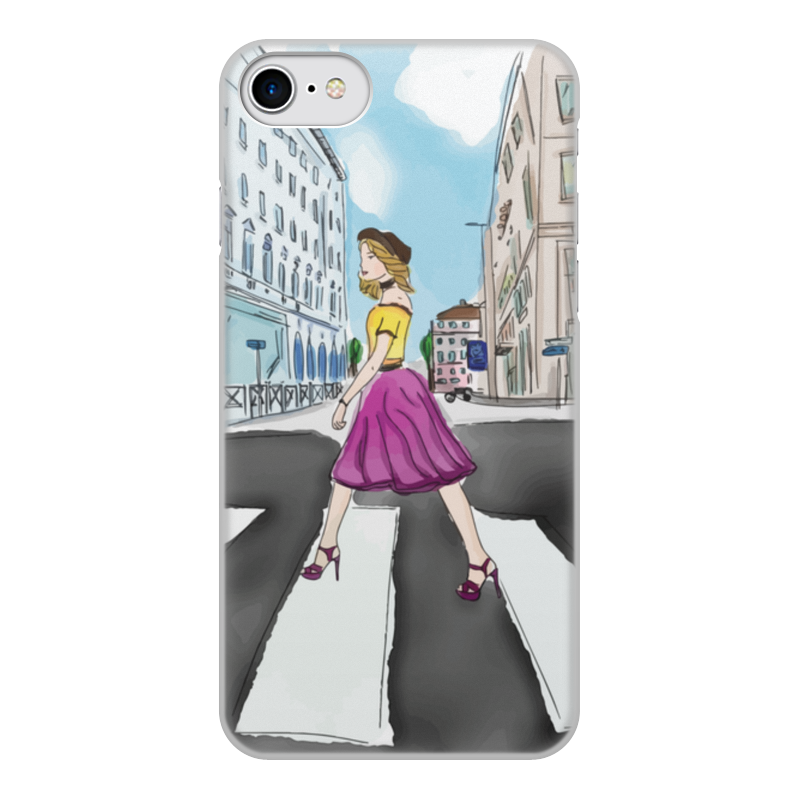 Чехол для iPhone 8, объёмная печать Printio Девушка в городе чехол для iphone 5 глянцевый с полной запечаткой printio девушка на фоне лунного озера