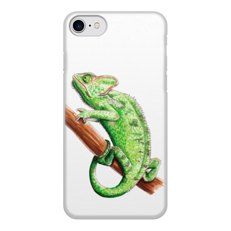 лучшая цена Чехол для iPhone 8, объёмная печать Printio Зеленый хамелеон на ветке