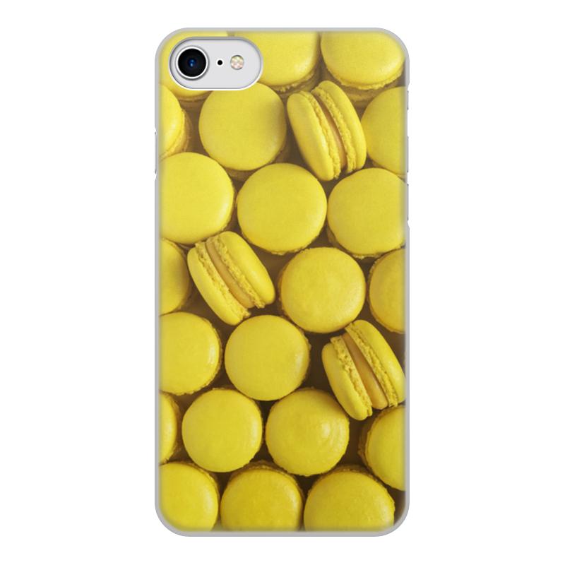 Чехол для iPhone 8, объёмная печать Printio Пирожные макаронс желтые