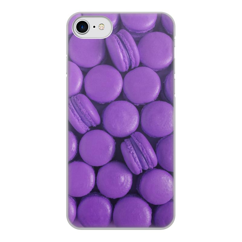 Чехол для iPhone 8, объёмная печать Printio Пирожные макаронс фиолетовые эклеры и другие домашние пирожные