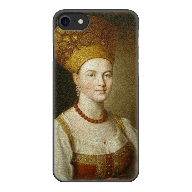 Чехол для iPhone 8, объёмная печать Printio Портрет неизвестной в русском костюме цена