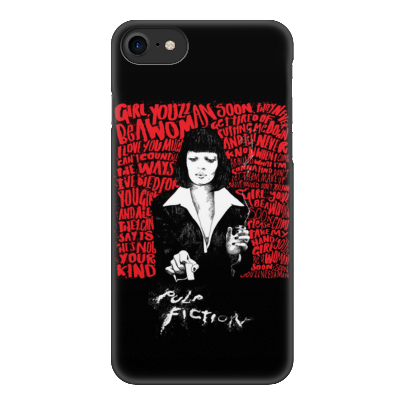 Чехол для iPhone 8, объёмная печать Printio Pulp fiction (ума турман) цена