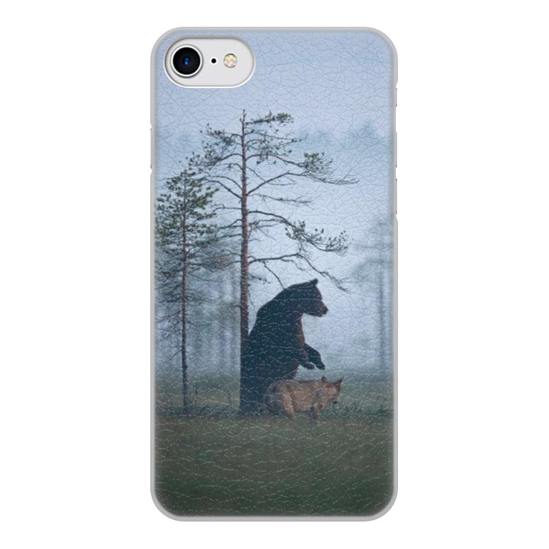Чехол для iPhone 8, объёмная печать Printio Мишка и волк
