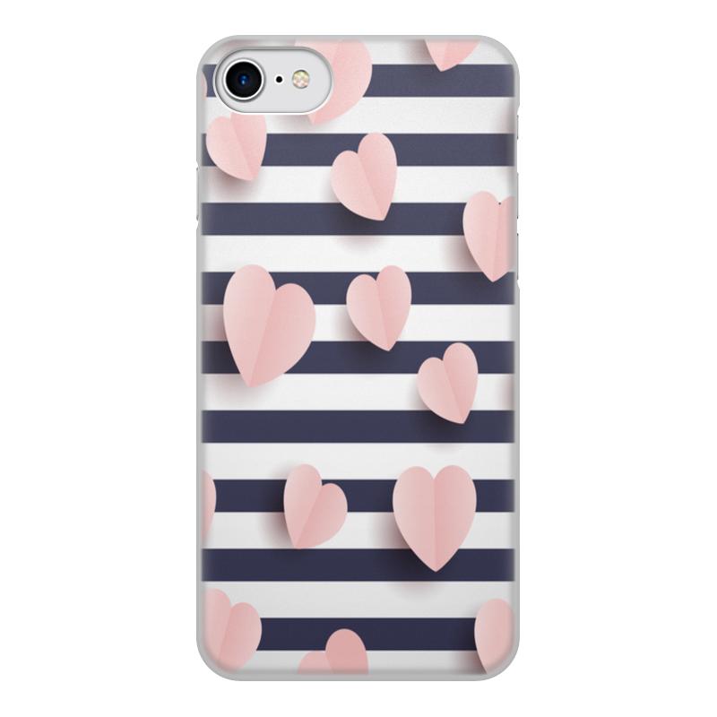 Чехол для iPhone 8, объёмная печать Printio Розовые сердечки