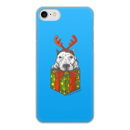 """Чехол для iPhone 8, объёмная печать """"новый год"""" - новый год, зима, собака, подарок, год собаки"""